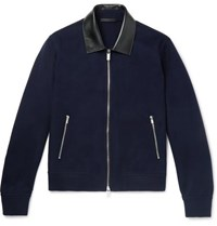 Berluti Leather Trimmed Cashmere Bomber Jacket Navy