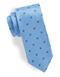 Hugo Micro Dot And Floral Silk Tie Light Blue
