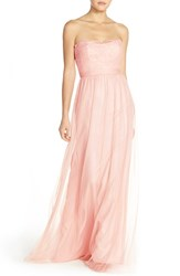 Women's Nouvelle Amsale 'Calla' Strapless Lace And Tulle Gown