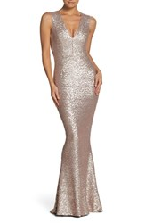 Dress The Population Karina Plunge Mermaid Gown Ice Pink
