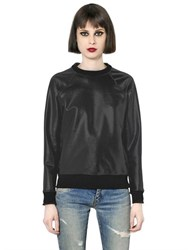 Saint Laurent Faux Patent Leather And Jersey Sweatshirt