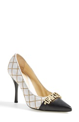 Moschino Letter Pointy Toe Pump Women White Black Leather