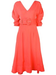 Nicholas Ruched Sleeve Dress Red