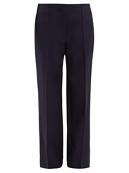 The Row Max Straight Leg Wool Twill Trousers Navy