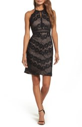 Morgan And Co. Women's Mitered Lace Halter Body Con Dress Black Nude
