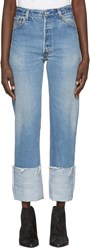 Re Done Blue High Rise Straight Cuffed Jeans