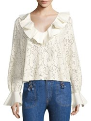 See By Chloe Ruffled Lace Bell Sleeve Blouse Navy Natural White