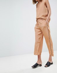 Moss Copenhagen Wide Leg Trousers In Spot With Contrast Piping Co Ord Tan