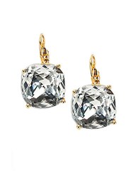 Kate Spade Small Square Lever Back Earrings Clear Gold