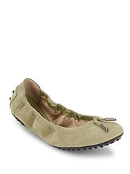 Tod's Dee Laccetto Suede Ballet Flats Dark Green