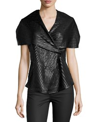 Neiman Marcus Faux Leather Striped Vest Black