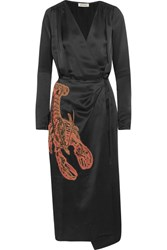 Attico Gabriela Beaded Appliqued Satin Wrap Dress Black