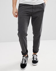 Esprit Loose Fit Smart Trousers In Brushed Cotton Grey