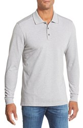 Men's Big And Tall Nordstrom Long Sleeve Pique Polo Grey Pearl