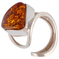 Be Jewelled Sterling Silver Triangular Baltic Amber Ring Cognac