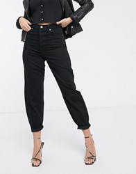 Topshop Oversized Balloon Leg Jeans In Washed Black