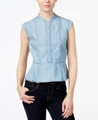 Velvet Heart Pala Denim Peplum Top Blue
