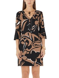 Marc Cain African Print Dress Black Brown