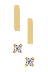 Ariella Collection Bar And Cz Stud Earrings Set Metallic
