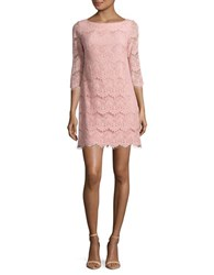 Eliza J Petite Three Quarter Sleeve Lace Shift Dress Blush