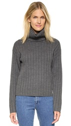Dkny Ribbed Turtleneck Pullover Steel Heather