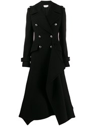 Alexander Mcqueen Double Breasted Asymmetric Coat Black