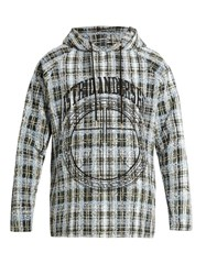Astrid Andersen Embroidered Checked Tweed Hooded Sweatshirt Green Multi