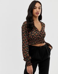 Fashion Union Long Sleeved Cropped Blouse With Shirring Detail Vintage Floral Black