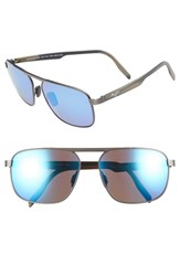 Maui Jim Waihe'e Ridge 60Mm Polarized Sunglasses Brushed Dark Gunmetal Blue Brushed Dark Gunmetal Blue