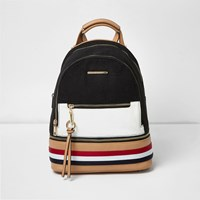 River Island Womens Black And White Panel Backpack