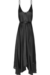 Alexander Wang T By Asymmetric Belted Chiffon Trimmed Silk Charmeuse Midi Dress Black