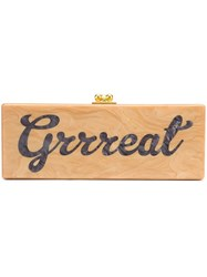 Edie Parker 'Grrreat' Rectangular Clutch Nude And Neutrals