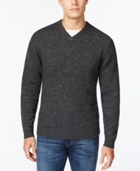 Weatherproof V Neck Wool Sweater Dark Gray