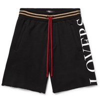 Amiri Printed Fleece Back Modal Blend Jersey Drawstring Shorts Black