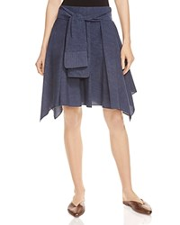 Halston Heritage Chambray Poplin Flounce Skirt Dark Denim