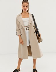 Stradivarius Long Flowy Trenchcoat In Camel Beige