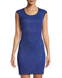 Grayse Shimmer Plisse Bodycon Dress Blue