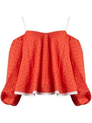Anna October Puff Sleeve Off The Shoulder Broderie Anglaise Top Red