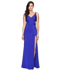 Faviana Faille Satin V Neck W Back Cut Out 7954 Royal Women's Dress Navy