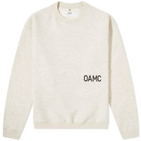 Oamc Noise Logo Crew Sweat Brown