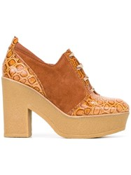 See By Chloe Embossed Detail Lace Up Shoes Brown
