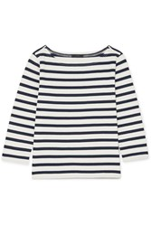 J.Crew Striped Cotton Jersey Top White Gbp