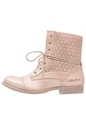Mustang Laceup Boots Lachs Rose