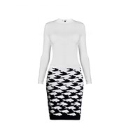 Rumour London Sea And Sky Ivory Knitted Jacquard Dress White