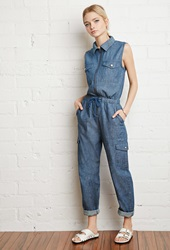 Forever 21 Zip Front Chambray Jumpsuit Denim