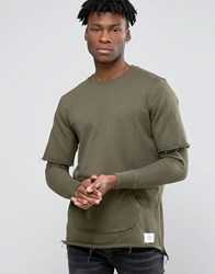 Criminal Damage Sweatshirt With Layered Sleeves Khaki Green