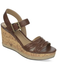 Life Stride Elsa Platform Wedge Sandals Women's Shoes Dark Tan