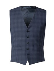 Alexandre Of England Vessey Tailored Airforce Check Waistcoat Blue