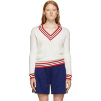 Gucci White Oversized Gg Trim Sweater