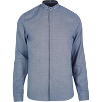 Vito River Island Mens Blue Slim Fit Grandad Collar Shirt